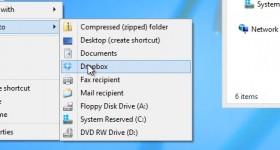Přidat Dropbox nebo na jiných místech v kontextovém menu Odeslat - výukové video