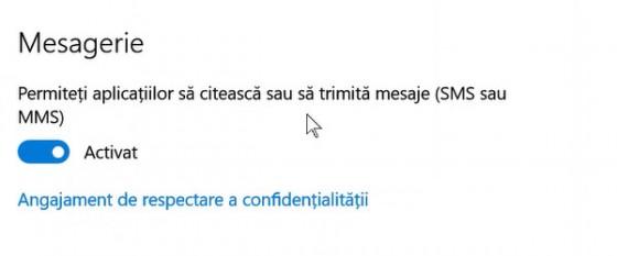 Setări confidențialitate Windows 10