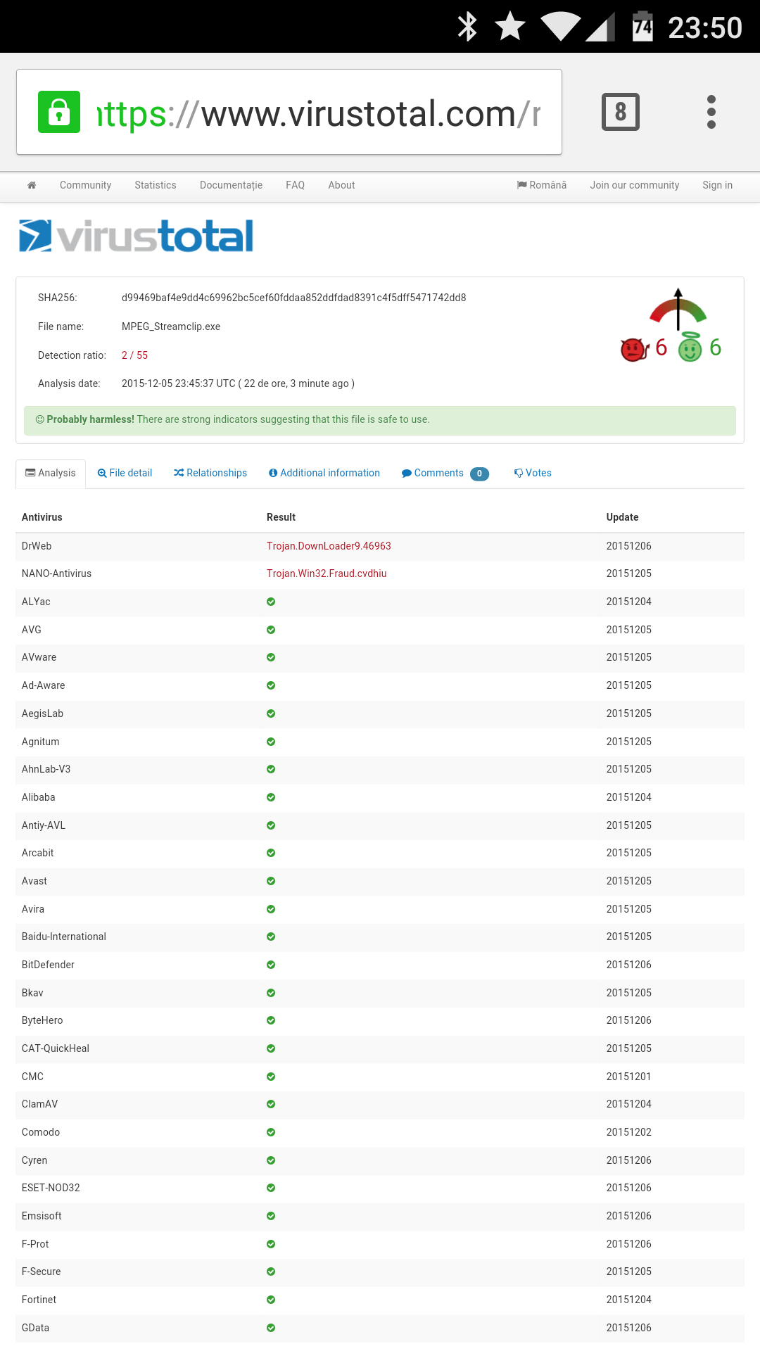 Raport virus total pentru streamclip