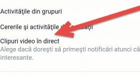 Dezactivare notificări Facebook pentru clipuri în direct