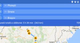 Traseu navigație personalizat cu mai multe opriri pe Android