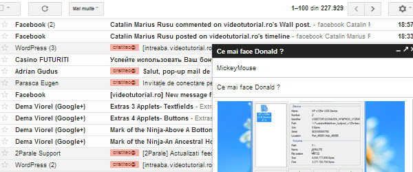 O noua functie pop-up din Gmail, multitasking pentru webmail – tutorial video
