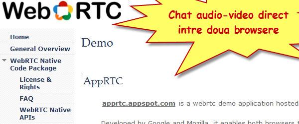 WebRTC, chat video si audio direct in browser fara nicio aplicatie