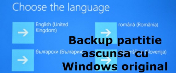 Backup skrivena particija za oporavak u sustavu Windows