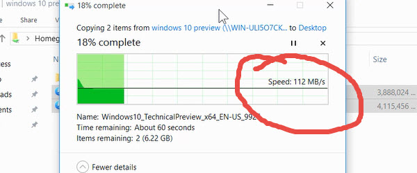 Transfer files between PCs at high speed