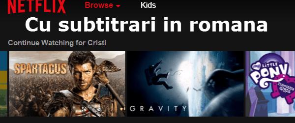 Netflix di Romania dengan sarikata Romanian di TV