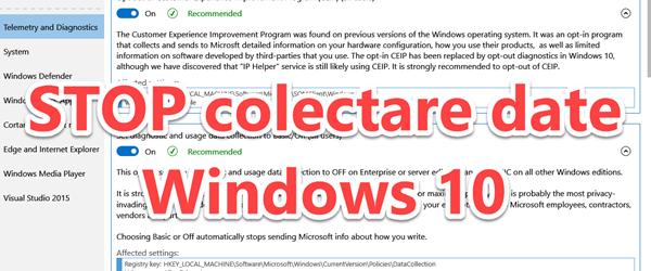 OPRESTE încălcarea intimității pe WINDOWS 10 de către Microsoft