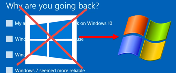 Windows znižan na Windows 10 7, 8 ali 8.1