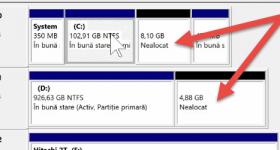 Zvýšení disk C tím, že připojí další oddíl