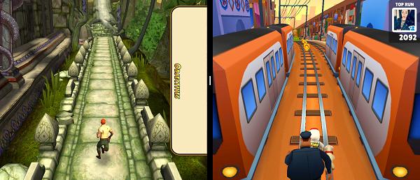 Dvě hry současně v rozdělené obrazovce telefonu