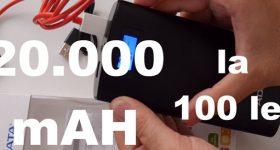 Baterie externa de 20000 mAh de la ADATA – ieftină 100 lei