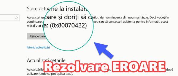 Eroare 0x80070422