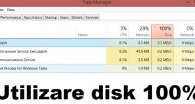 Riešenie problémov s používaním disku alebo použitím disku 100%