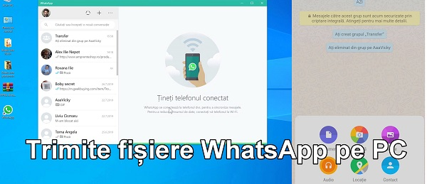 Transfer descărcare fișiere WhatsApp pe PC
