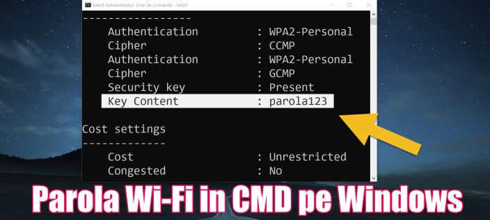 Komandu displejs Wi-Fi paroles CMD