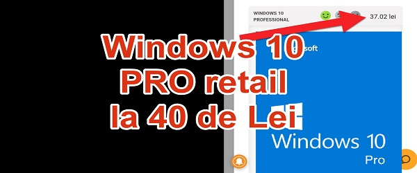 Windows 10 Pro TRGOVINA NA DROBNO 40 Lei